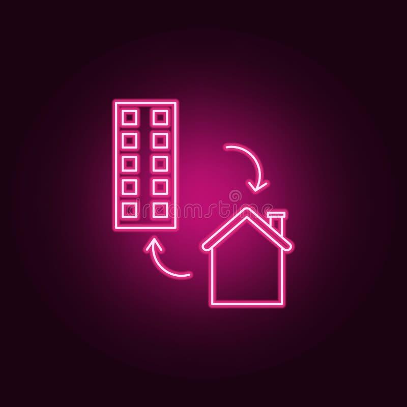 Ícone de néon da troca da casa Elementos do grupo de Real Estate ?cone simples para Web site, design web, app m?vel, gr?ficos da  ilustração royalty free
