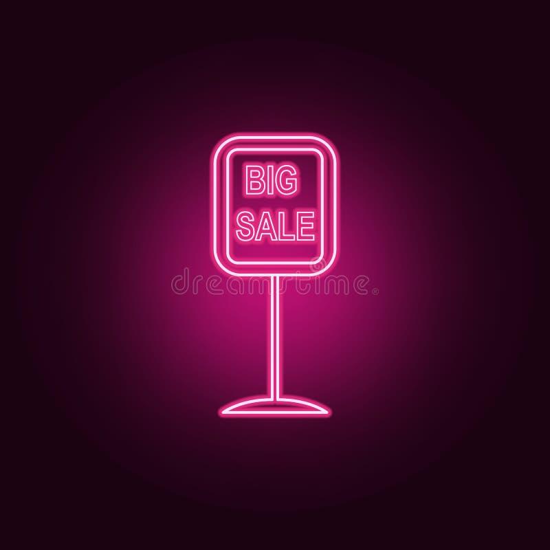 ícone de néon da venda grande do signage da estrada Elementos do grupo da venda ?cone simples para Web site, design web, app m?ve ilustração do vetor