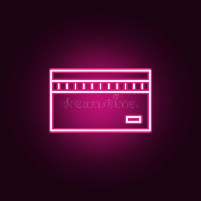 ícone de néon do cartão de crédito Elementos do grupo da operação bancária Ícone simples para Web site, design web, app móvel, gr ilustração stock