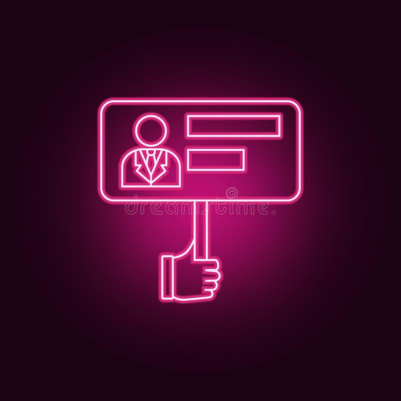 Ícone de néon do eleitor \ 'do cartaz de s r ?cone simples para Web site, design web, app m?vel, gr?ficos da informa??o ilustração royalty free