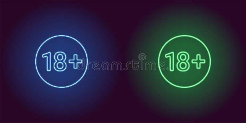 Ícone de néon do limite de idade para 18 inferiores ilustração royalty free