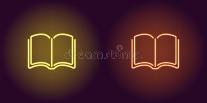 Ícone de néon do livro amarelo e alaranjado ilustração royalty free
