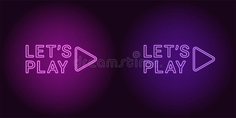 Ícone de néon do roxo e da Violet Lets Play ilustração stock