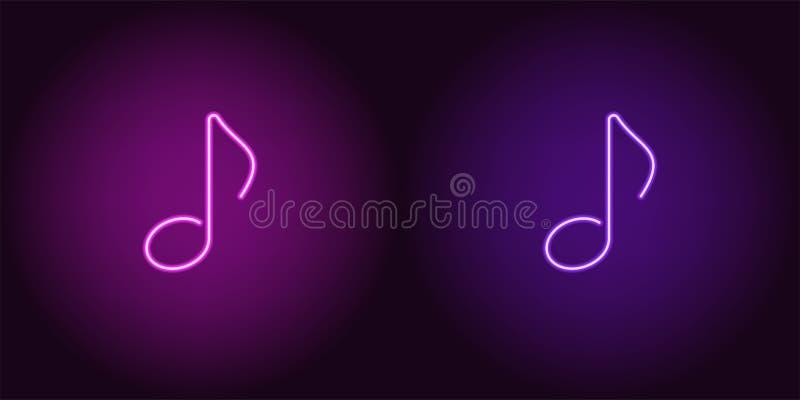 Ícone de néon do roxo e da Violet Musical Note ilustração royalty free