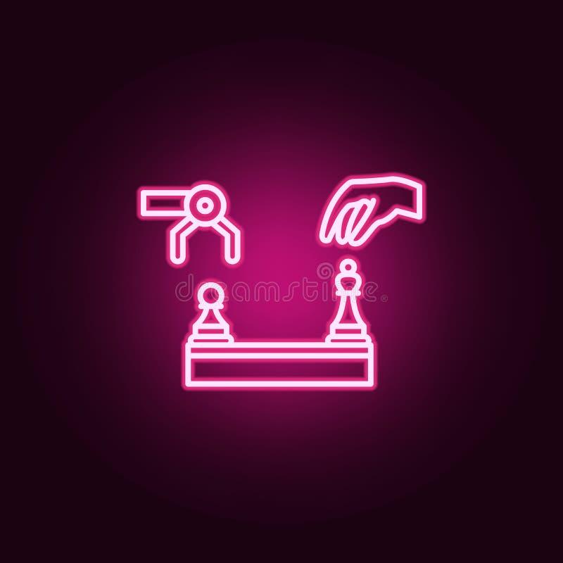 ícone de néon do ser humano e do robô da xadrez da inteligência artificial Elementos do grupo da inteligência artificial Ícone si ilustração stock