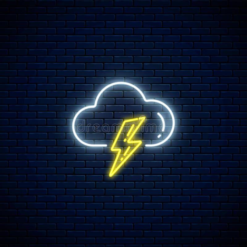 Ícone de néon de incandescência do tempo do temporal Símbolo da tempestade com nuvem e relâmpago no estilo de néon ilustração royalty free