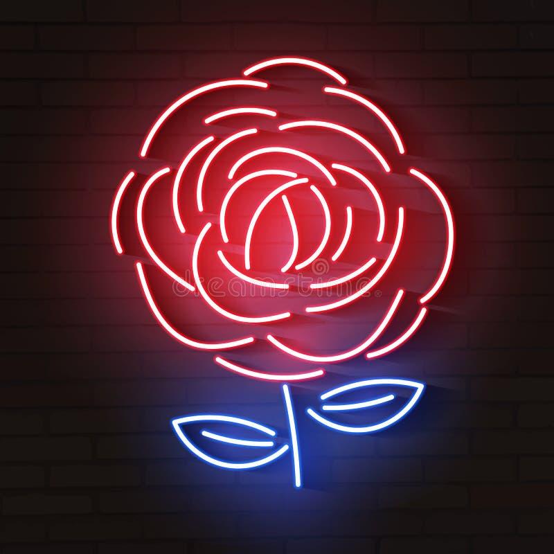 Ícone de néon de incandescência vermelho de Rosa Logotipo de incandescência do sinal ilustração do vetor