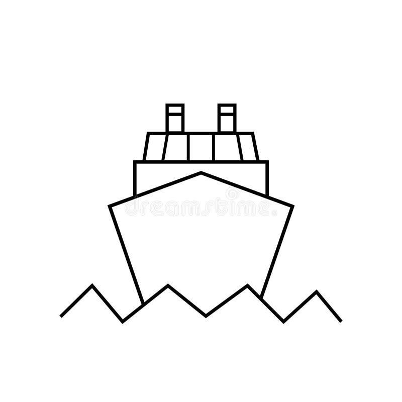 Ícone de navio oceânico no estilo plano de tendência, isolado em fundo branco Pictograma do site Símbolo da Internet para a conce ilustração do vetor
