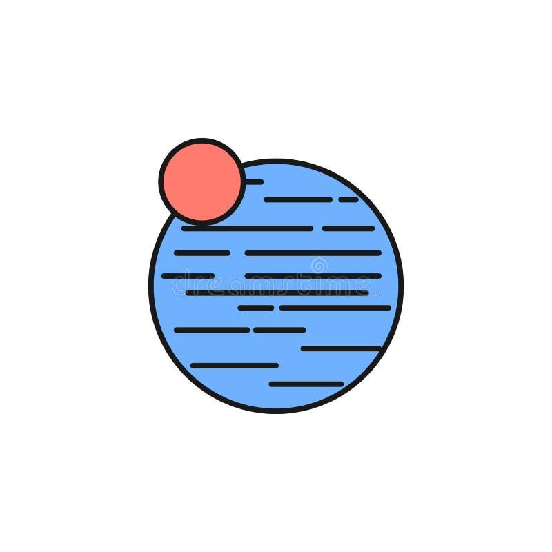 Ícone de Netuno do planeta Elemento do ícone da cor do esboço do espaço Linha fina ícone para o projeto do Web site e o desenvolv ilustração royalty free