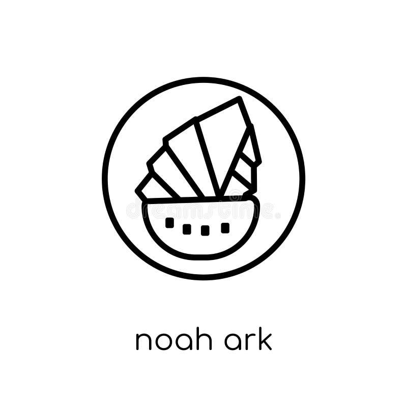 Ícone de Noah Ark Ícone linear liso moderno na moda de Noah Ark do vetor sobre ilustração royalty free