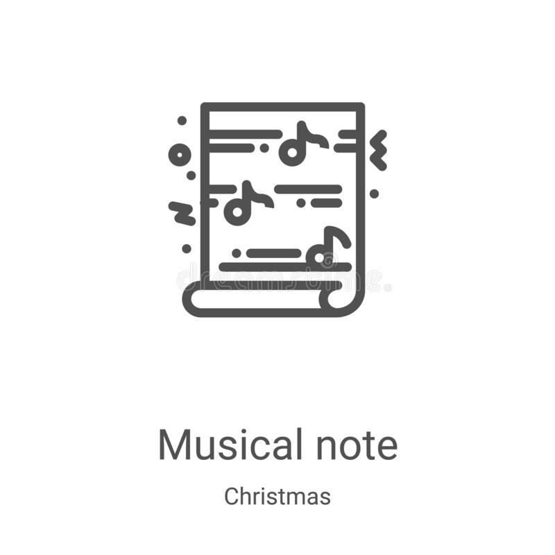 ícone de nota musical vetor da coleção de natal Ilustração vetorial de ícone do contorno de nota musical de linha fina Símbolo li ilustração stock