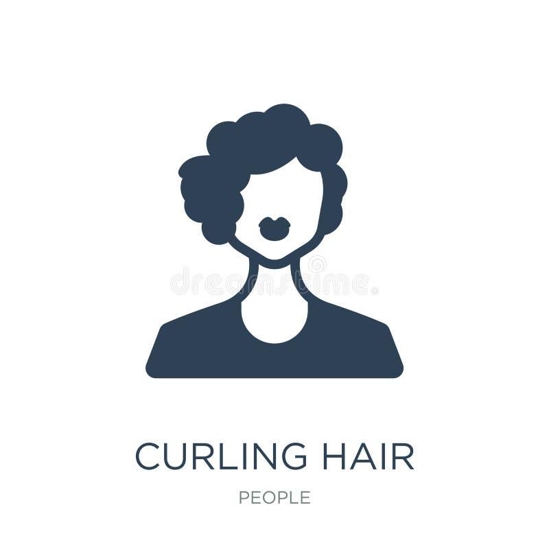 ícone de ondulação do cabelo no estilo na moda do projeto Ícone de ondulação do cabelo isolado no fundo branco ícone de ondulação ilustração do vetor