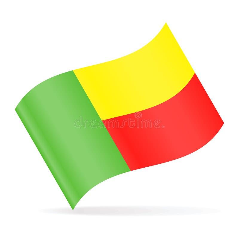 Ícone de ondulação do vetor da bandeira de Benin ilustração royalty free