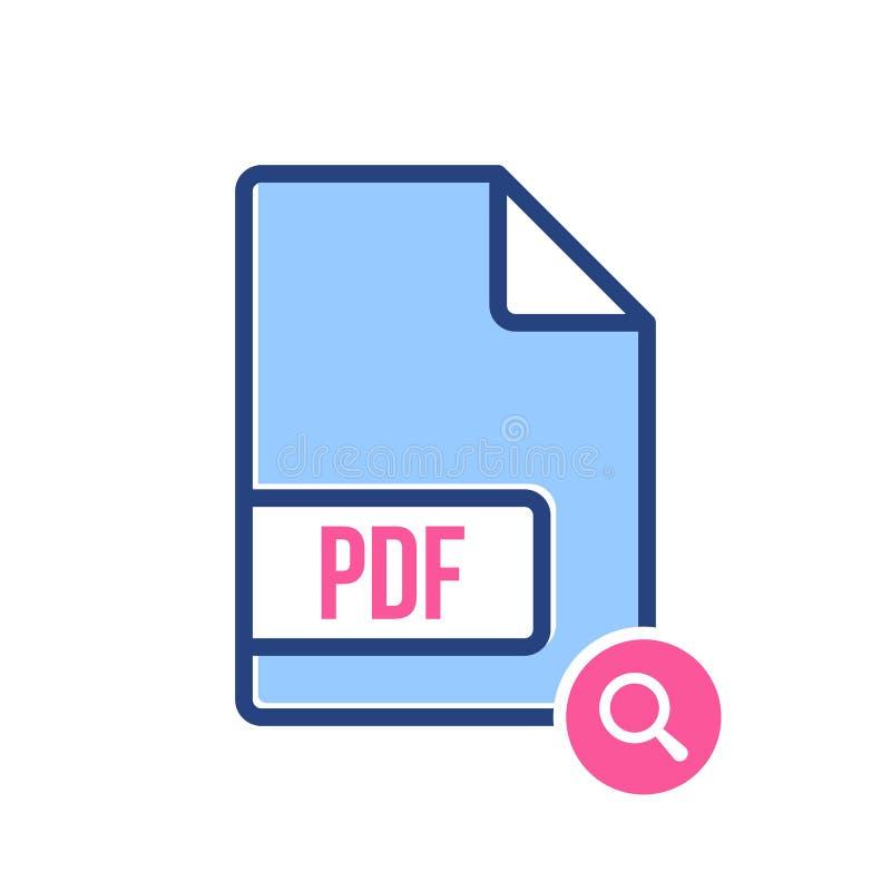 Ícone de original do pdf, extensão do pdf, ícone do formato de arquivo com sinal da pesquisa O ícone de original do pdf e explora ilustração do vetor