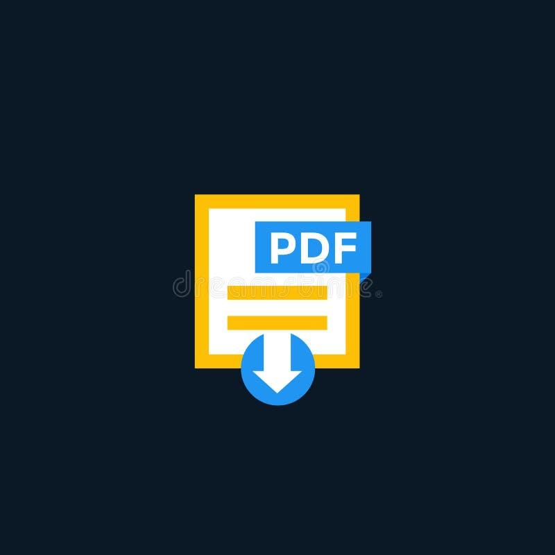 Ícone de original do pdf, vetor do arquivo do pdf da transferência ilustração do vetor
