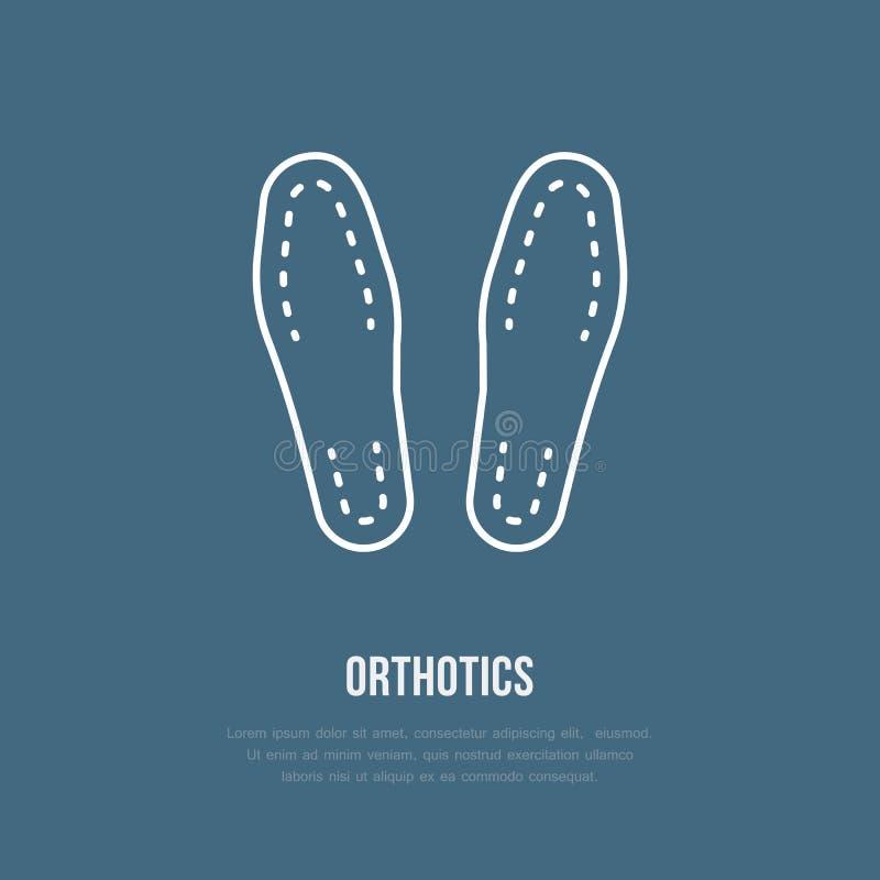 Ícone de Orthotics, linha logotipo Sinal liso para o equipamento ortopédico, proteção do pé ilustração do vetor