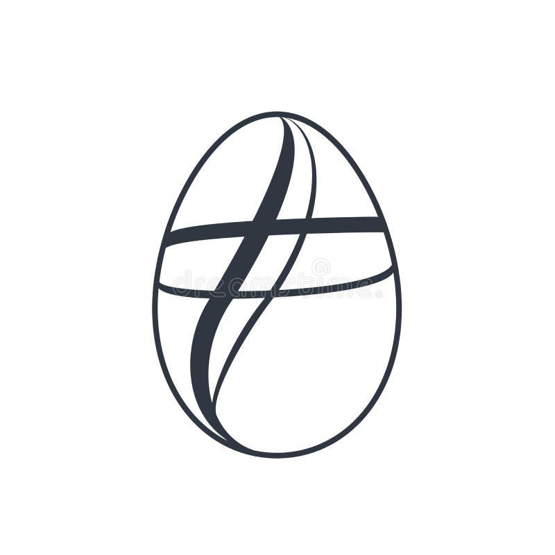 Ícone de ovo de Páscoa Sinal de ovo preto, fundo branco isolado Simple design, decoration Happy Easter Holiday decorative ilustração stock