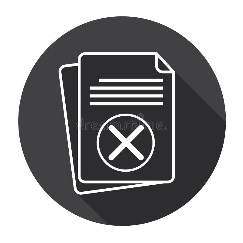 Ícone de papel da Web do contrato do original da cruz da folha ilustração do vetor