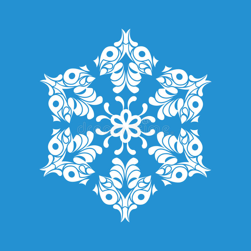 Ícone de papel do floco de neve, estilo simples ilustração stock
