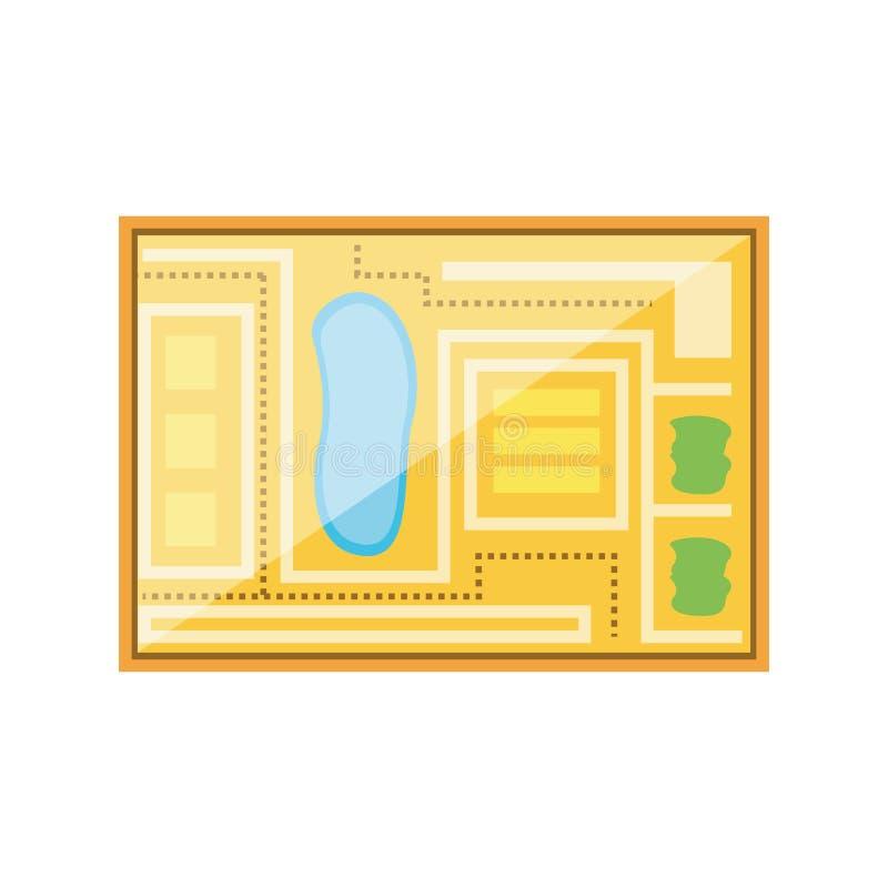 Ícone de papel do guia do mapa ilustração stock