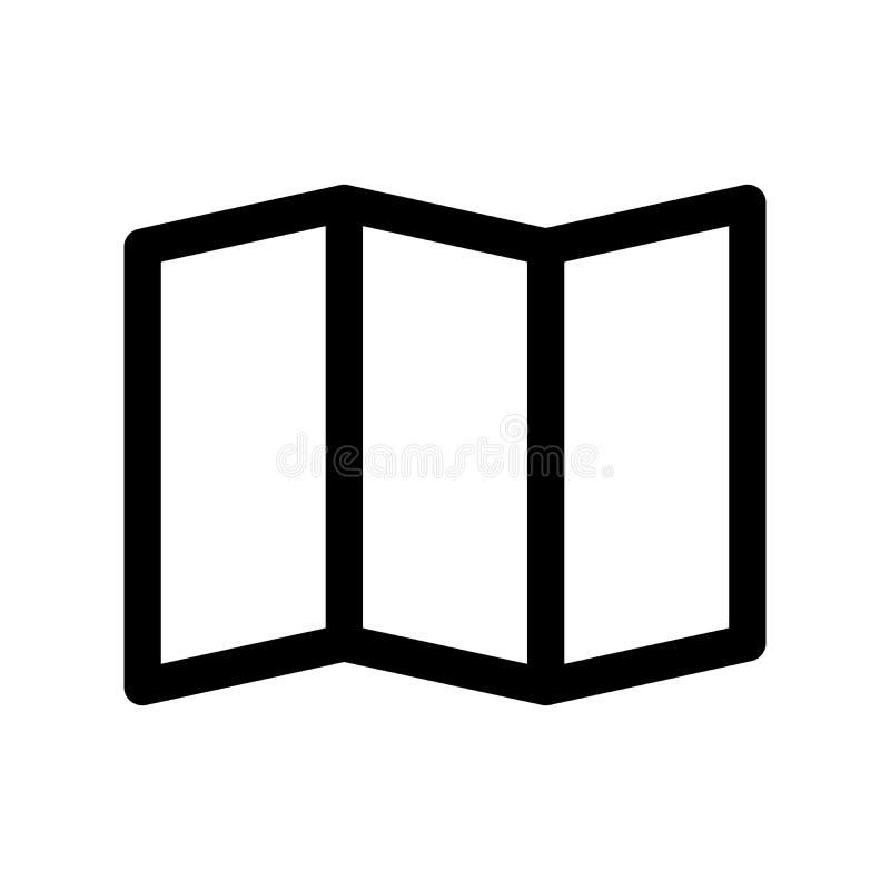 Ícone de papel de dobramento do mapa Símbolo da viagem e de planear Elemento do projeto moderno do esboço Sinal liso preto simple ilustração stock
