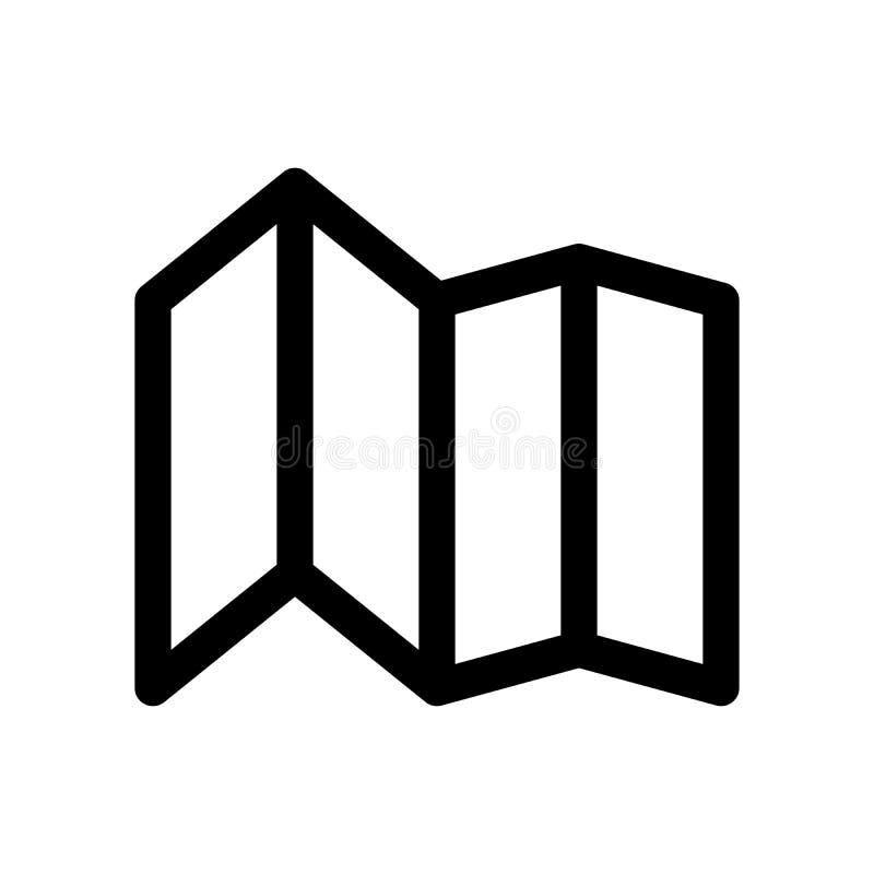 Ícone de papel de dobramento do mapa Símbolo da viagem e de planear Elemento do projeto moderno do esboço Sinal liso preto simple ilustração do vetor