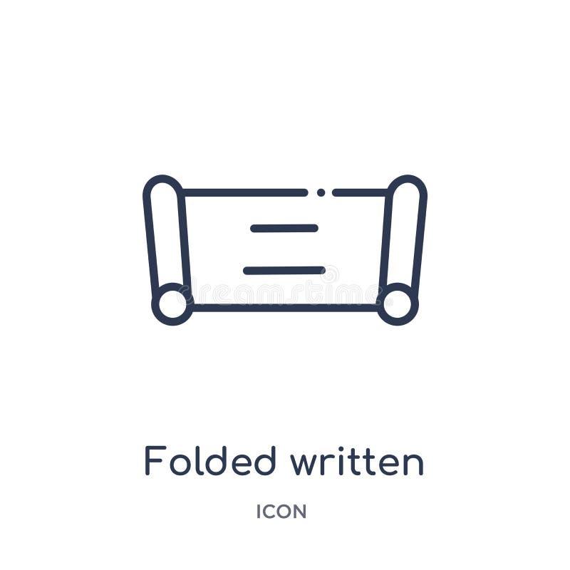 Ícone de papel escrito dobrado linear da coleção do esboço da educação A linha fina dobrou o ícone de papel escrito isolado no br ilustração stock