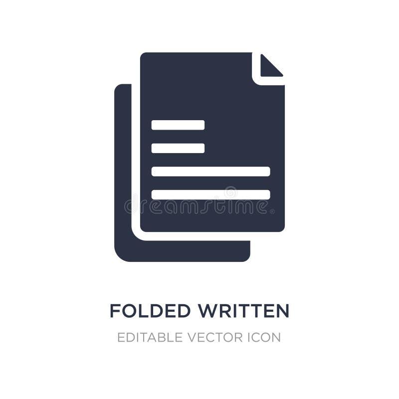 ícone de papel escrito dobrado no fundo branco Ilustração simples do elemento do conceito da educação ilustração do vetor