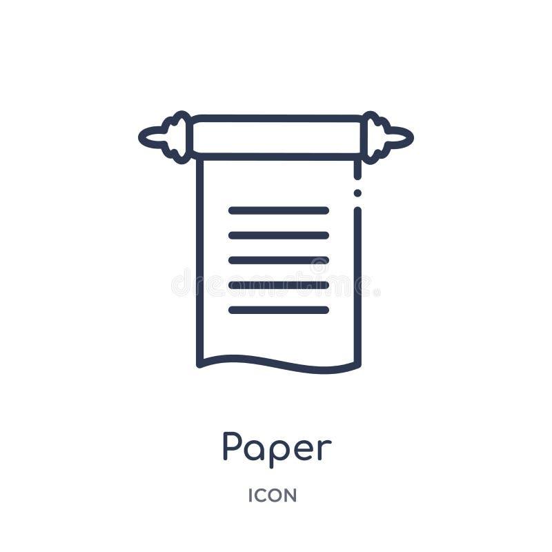 Ícone de papel linear da coleção do esboço da história Linha fina ícone do papel isolado no fundo branco ilustração na moda de pa ilustração do vetor