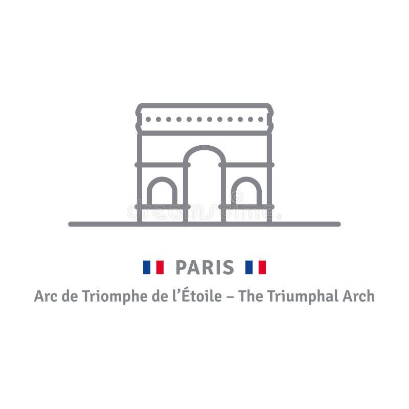 Ícone de Paris com arco triunfal e a bandeira francesa ilustração royalty free