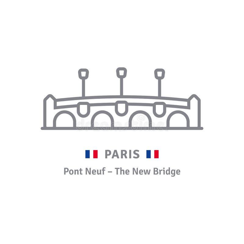 Ícone de Paris com Pont Neuf e a bandeira francesa ilustração do vetor