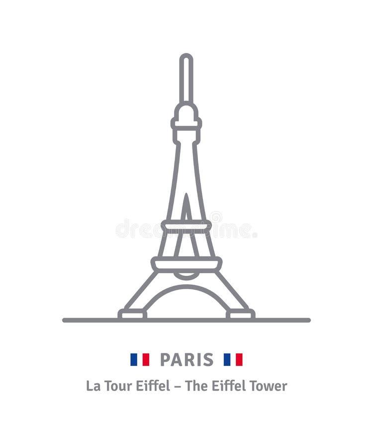 Ícone de Paris com torre Eiffel e a bandeira francesa ilustração stock