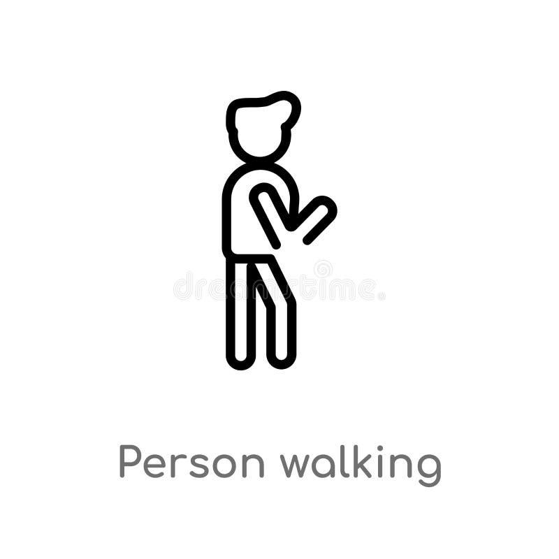 ícone de passeio do vetor da pessoa do esboço linha simples preta isolada ilustra??o do elemento do conceito dos povos Curso edit ilustração royalty free