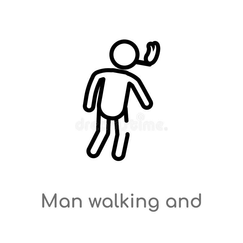 ícone de passeio e de fumo do homem do esboço do vetor linha simples preta isolada ilustração do elemento do conceito dos povos V ilustração do vetor