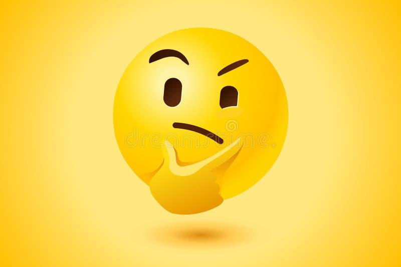 Ícone de pensamento amarelo do vetor da cara ilustração royalty free
