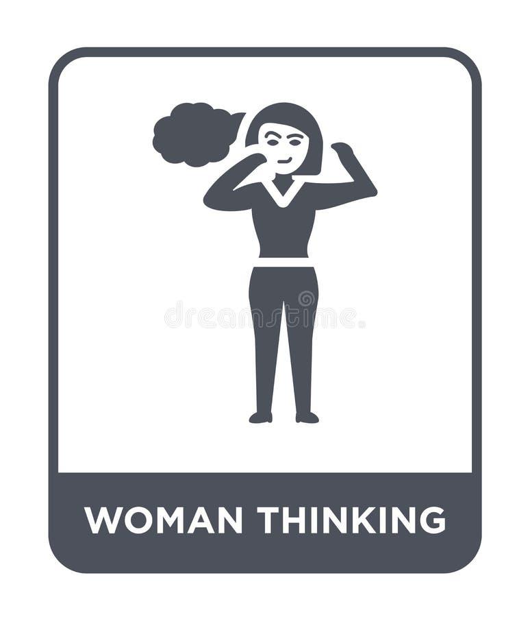ícone de pensamento da mulher no estilo na moda do projeto ícone de pensamento da mulher isolado no fundo branco ícone de pensame ilustração royalty free