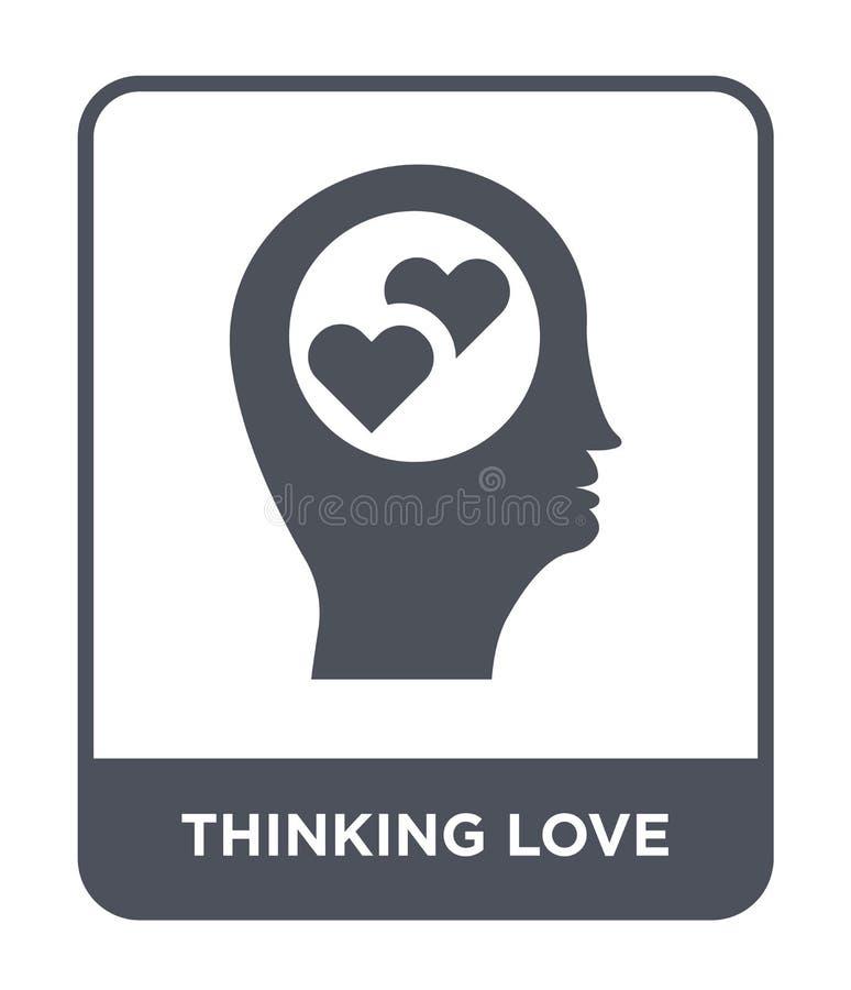 ícone de pensamento do amor no estilo na moda do projeto pensar ama o ícone isolado no fundo branco ícone de pensamento do vetor  ilustração royalty free