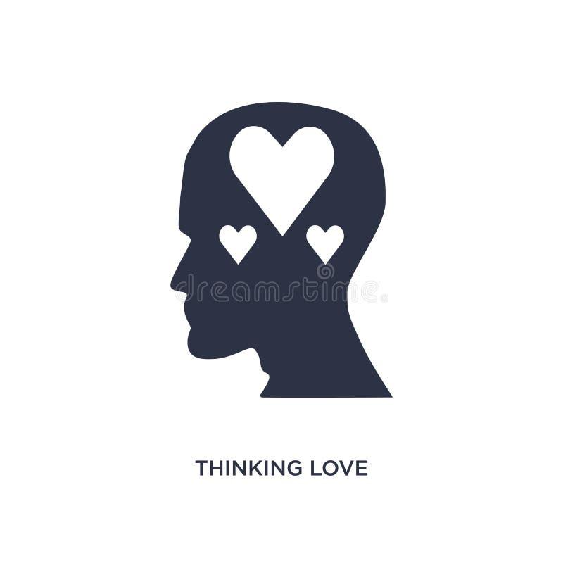 ícone de pensamento do amor no fundo branco Ilustração simples do elemento do conceito do processo do cérebro ilustração royalty free