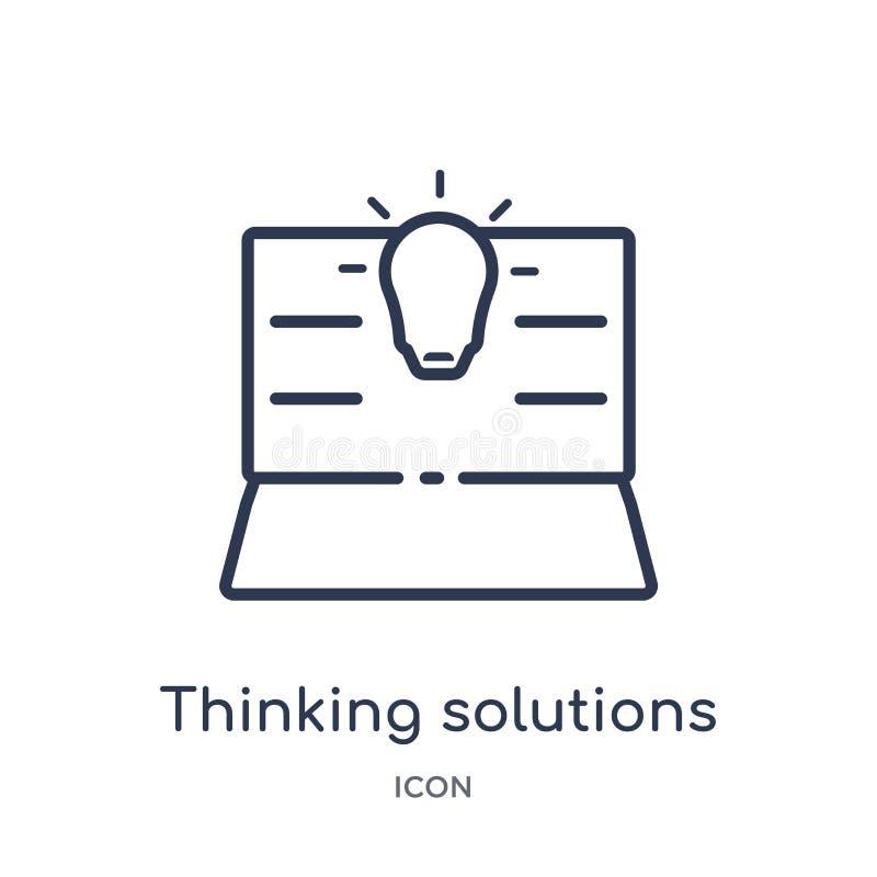 Ícone de pensamento linear das soluções da coleção variada do esboço Linha fina ícone de pensamento das soluções isolado no branc ilustração royalty free