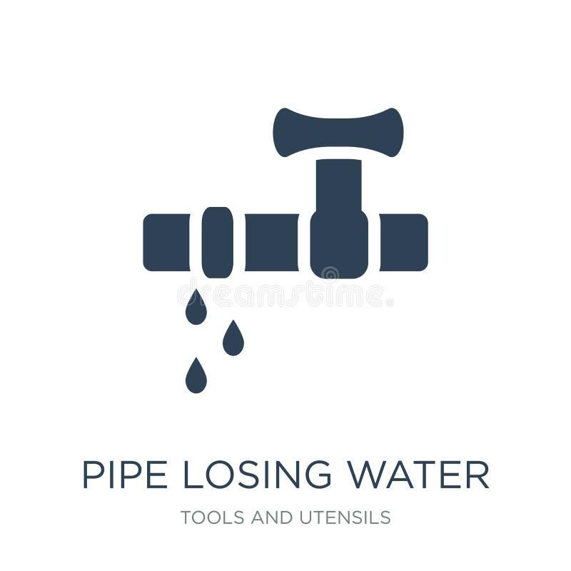 ícone de perda da água da tubulação no estilo na moda do projeto Conduza ícone perdedor da água isolado no fundo branco ícone de  ilustração royalty free