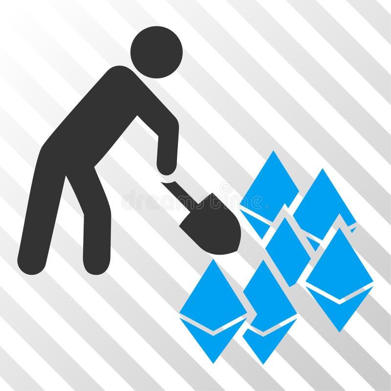 Ícone de Person Mining Ethereum Vetora EPS ilustração do vetor