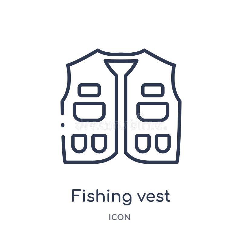 Ícone de pesca linear da veste da coleção de acampamento do esboço Linha fina que pesca o vetor da veste isolado no fundo branco  ilustração stock