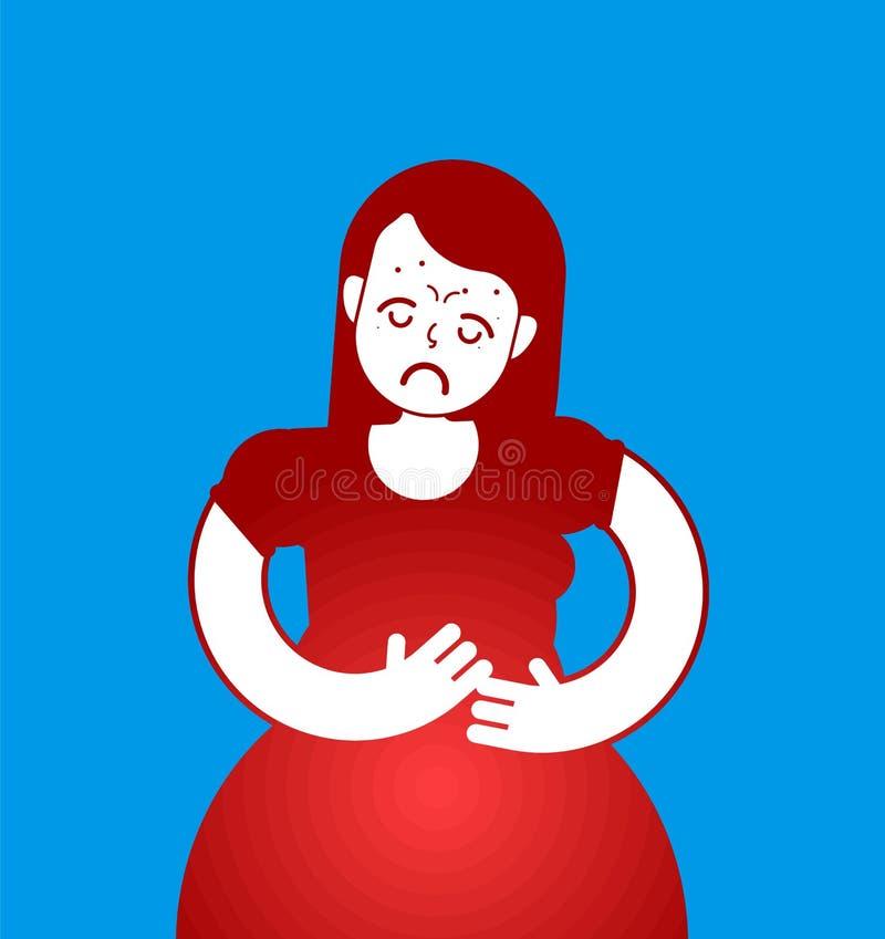 Ícone de PMS Sinal menstrual da menina da dor Sofrimento da mulher do abdomin ilustração royalty free