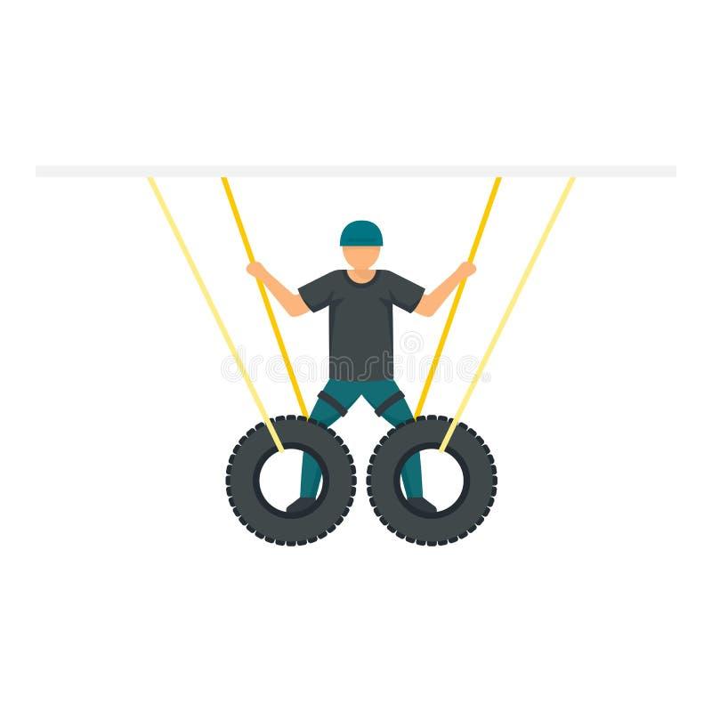 Ícone de pneus de CEP manual, estilo plano ilustração stock