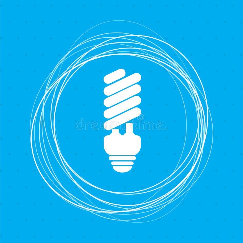 Ícone de poupança de energia da ampola em um fundo azul com círculos abstratos em torno e lugar para seu texto ilustração stock