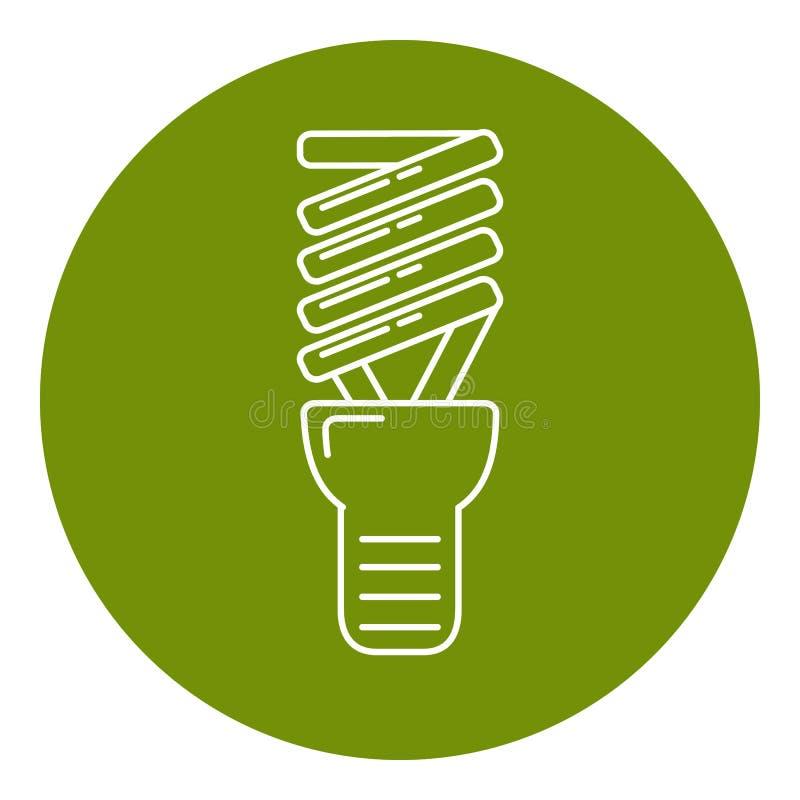 Ícone de poupança de energia da ampola na linha estilo fina ilustração royalty free