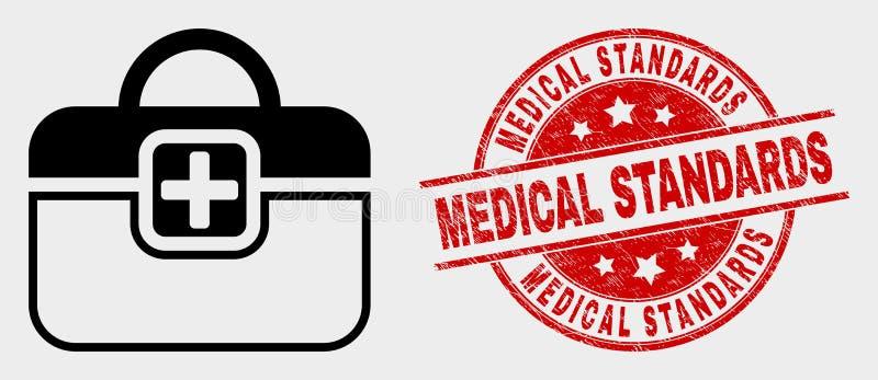 Ícone de primeiros socorros do caso do vetor e selo médico riscado dos padrões ilustração do vetor