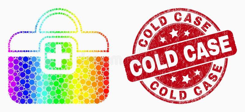 Ícone de primeiros socorros pontilhado colorido arco-íris do caso do vetor e selo riscado do caso arquivado ilustração royalty free