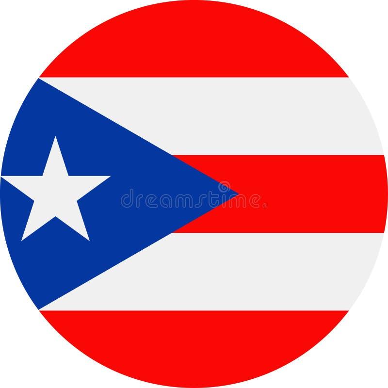 Ícone de Puerto Rico Flag Vetora Round Flat ilustração royalty free