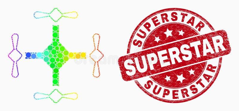 Ícone de Quadcopter do pixel do espectro do vetor e selo riscado da estrela mundial ilustração do vetor